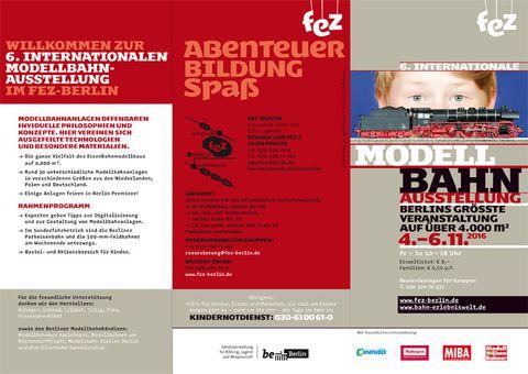 Flyer zur 6. Internationalen Modellbahnausstellung 4.–6.11.2016 im FEZ-Berlin
